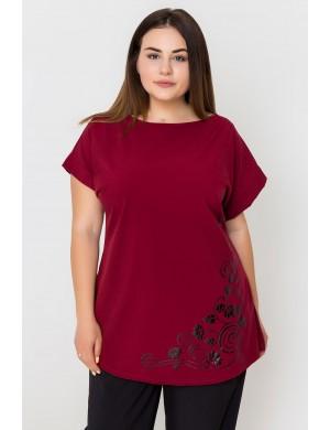 Женская кофта большого размера Мелиса (бордовый)