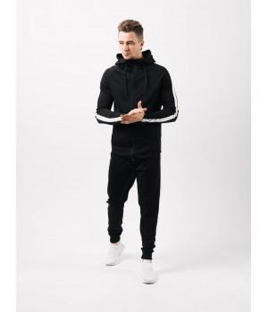 Мужской спортивный костюм Полоска (черный)