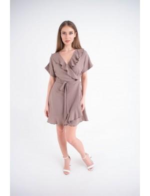 Женское платье Рюша (какао)