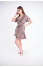Купить женское молодежное платье Рюша (какао)