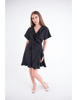 Женское платье Рюша (черный)