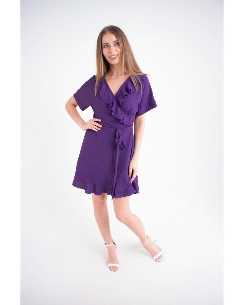 Купить женское молодежное платье Рюша (фиолетовый)