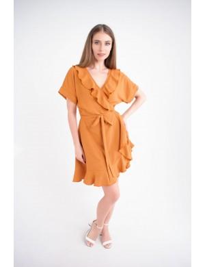 Женское платье Рюша (горчица)