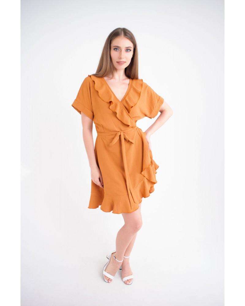 Купить женское молодежное платье Рюша (горчица)