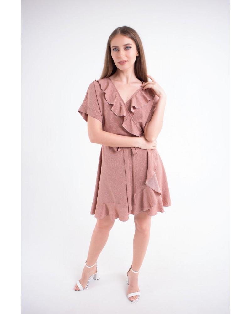 Купить женское молодежное платье Рюша (горошек)