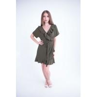 Женское платье Рюша (оливковый)