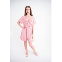 Женское платье Рюша (розовый)