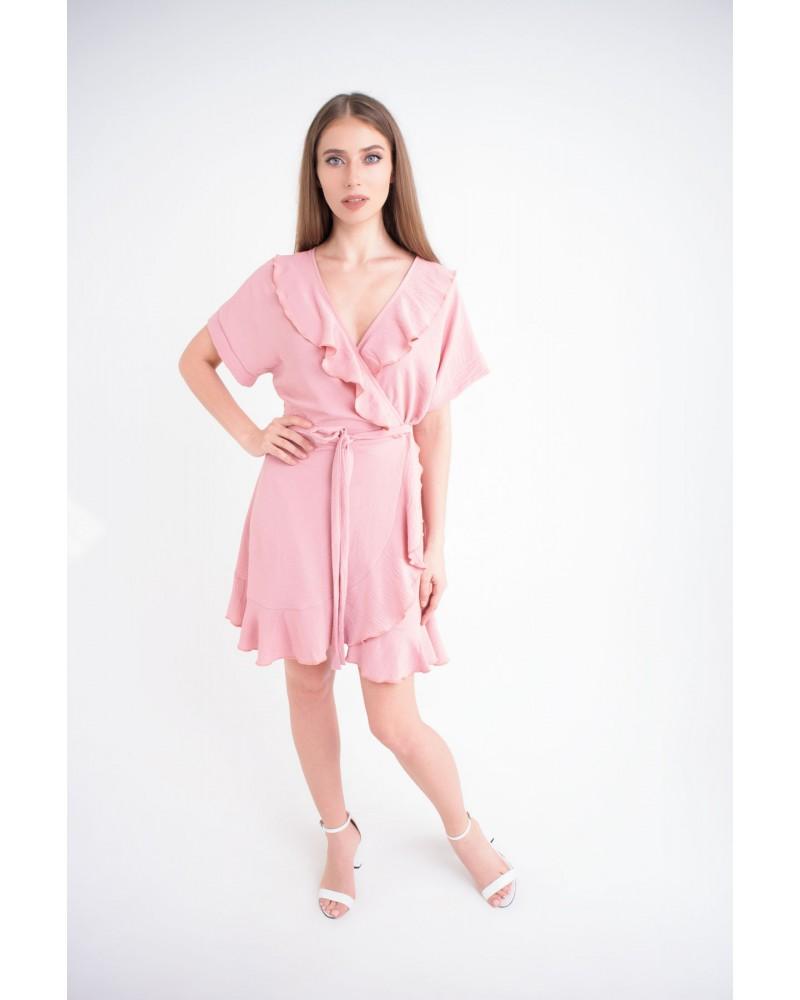 Купить женское молодежное платье Рюша (розовый)