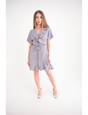 Женское платье Рюша (серый)