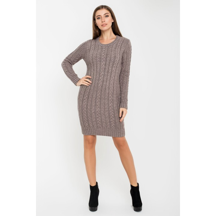 Платье вязанное Бетти (серо-коричневый)