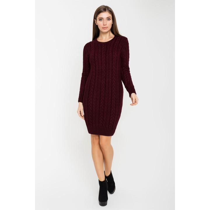 Платье вязаное Бетти (бордовый)