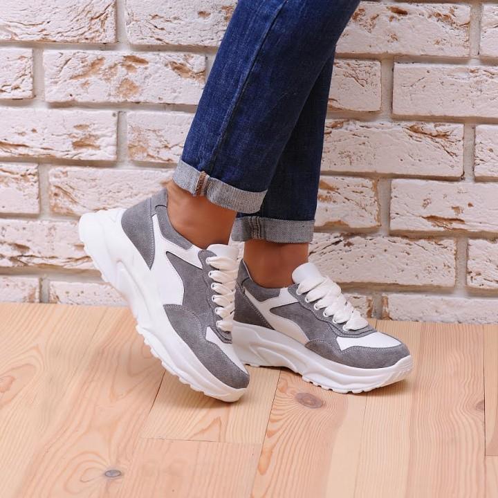 Купить молодежные женские кроссовки серый №1321