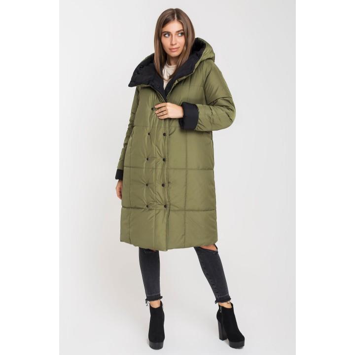 Зимняя двусторонняя куртка Джени (хаки/черный)