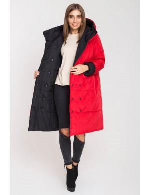 Женская зимняя молодежная двусторонняя куртка Джени (красный/черный)