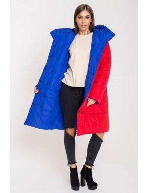 Женская зимняя молодежная двусторонняя куртка Джени (красный/электрик)
