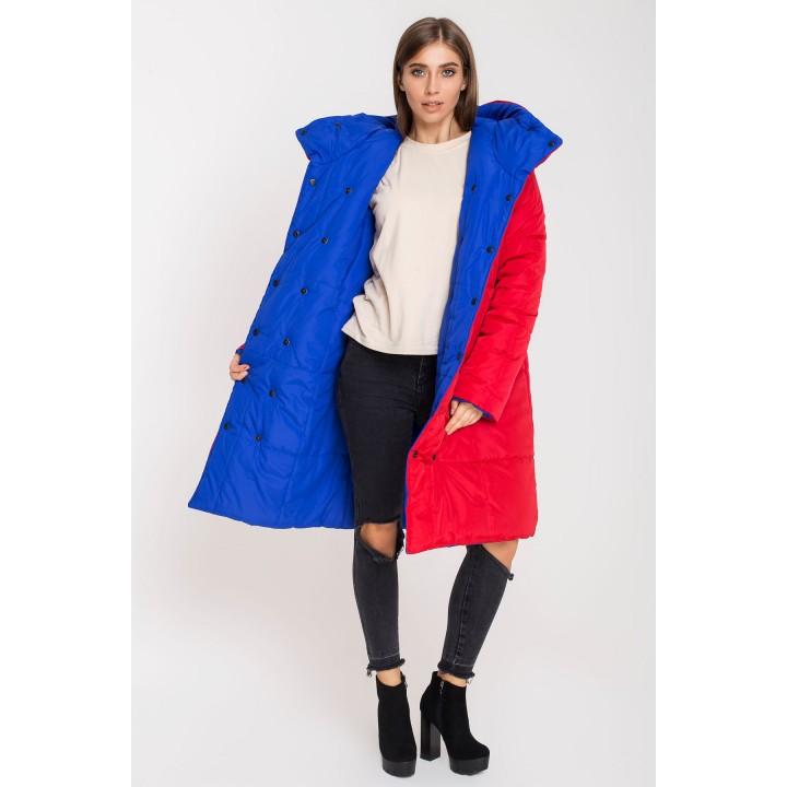 Зимняя двусторонняя куртка Джени (красный/электрик)