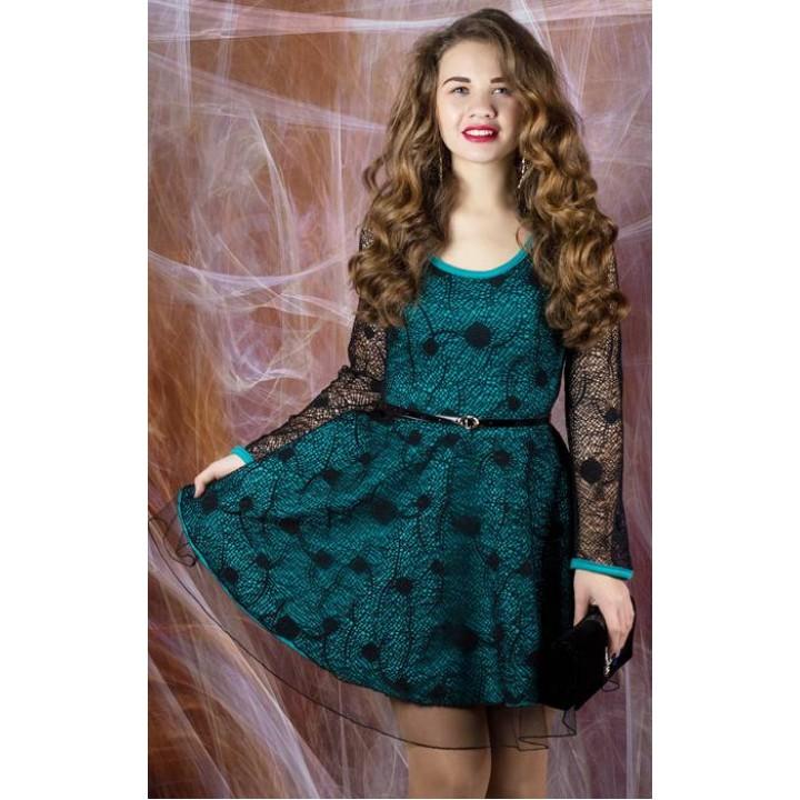 Платье Искушение (черный с бирюзовым)   оптовая цена