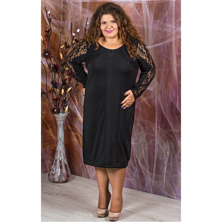 Платье Галатея (черный  с гипюром)   оптовая цена