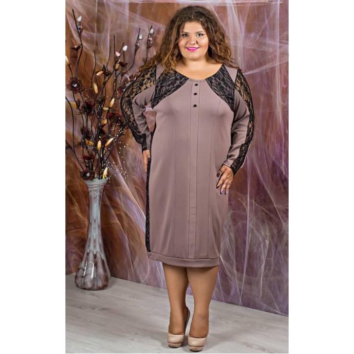 Платье Галатея (кофейный с гипюром )     оптовая цена