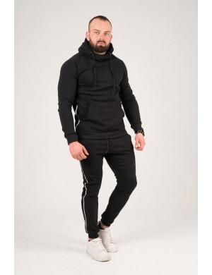 Мужские спортивные штаны с лампасами (черный)