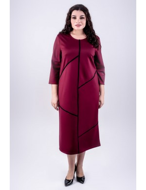 Женское платье большого размера Мери (бордовый)