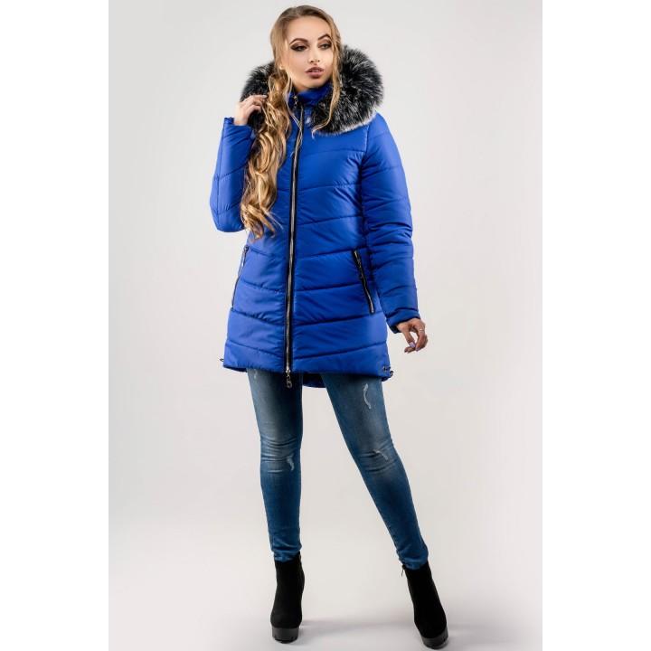 Зимняя куртка Бриана (электрик серый мех)