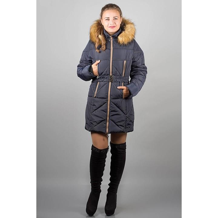 Зимняя куртка Дорри (синяя бежевый мех) Оптовая цена