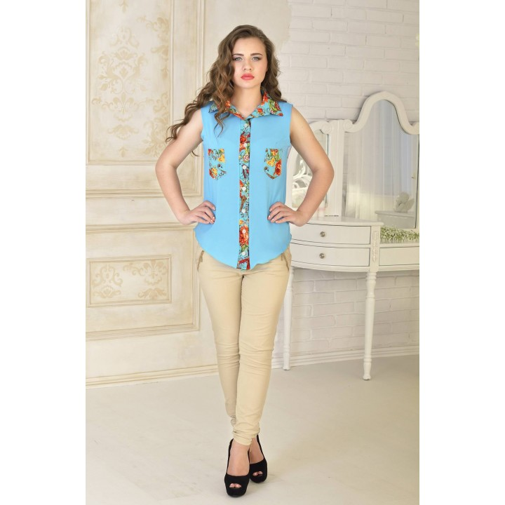 Рубашка Одилия (бирюза) оптовая цена