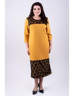 Женское платье большого размера Латика (горчичный)