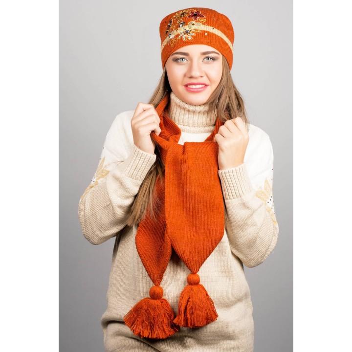 Шапка с вышивкой (оранжевая)   оптовая цена