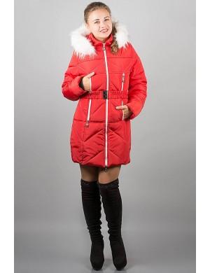 Зимняя молодежная куртка Дорри (красная белый мех)