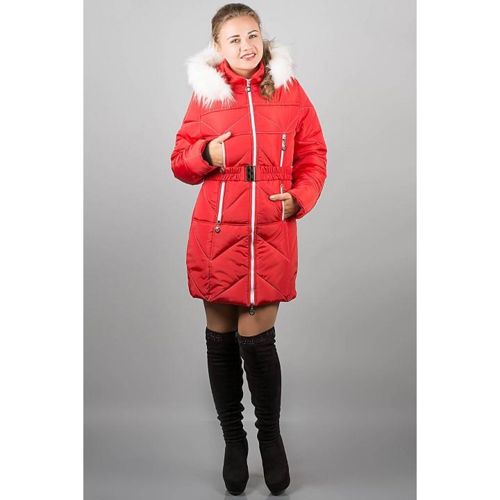 Зимняя куртка Дорри (красная белый мех)