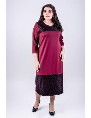 Женское платье большого размера Латика (бордовый)