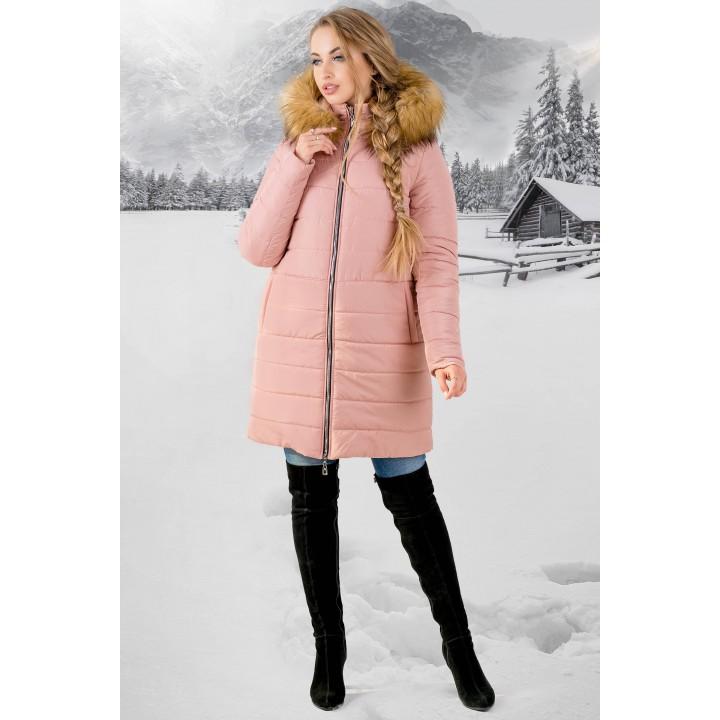 Зимняя куртка Флорида (розовая бежевый мех) Оптовая цена