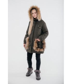Зимняя детская куртка Ангелия (хаки)