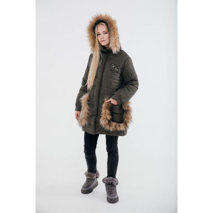 Детская зимняя куртка Ангелия (хаки) Оптовая цена