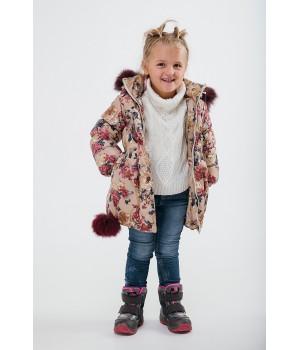 Зимняя детская куртка Бемби (цветы)