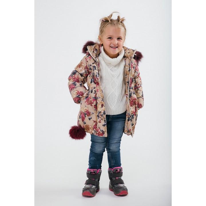 Зимняя детская куртка Бемби (цветы) Оптовая цена