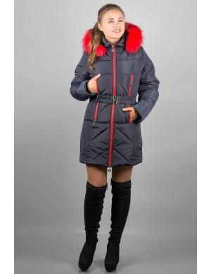 Женская зимняя молодежная куртка Дорри (синяя красный мех)
