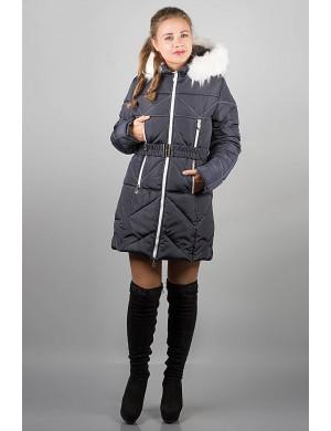 Зимняя молодежная куртка Дорри (синяя белый мех, белая отстрочка)