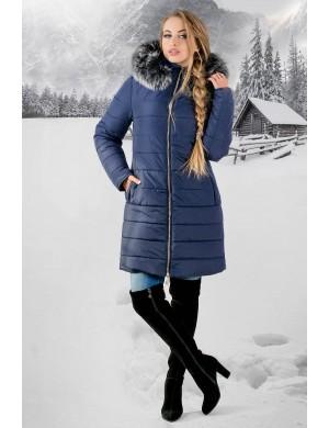 Зимняя молодежная куртка Флорида (синяя серый мех)