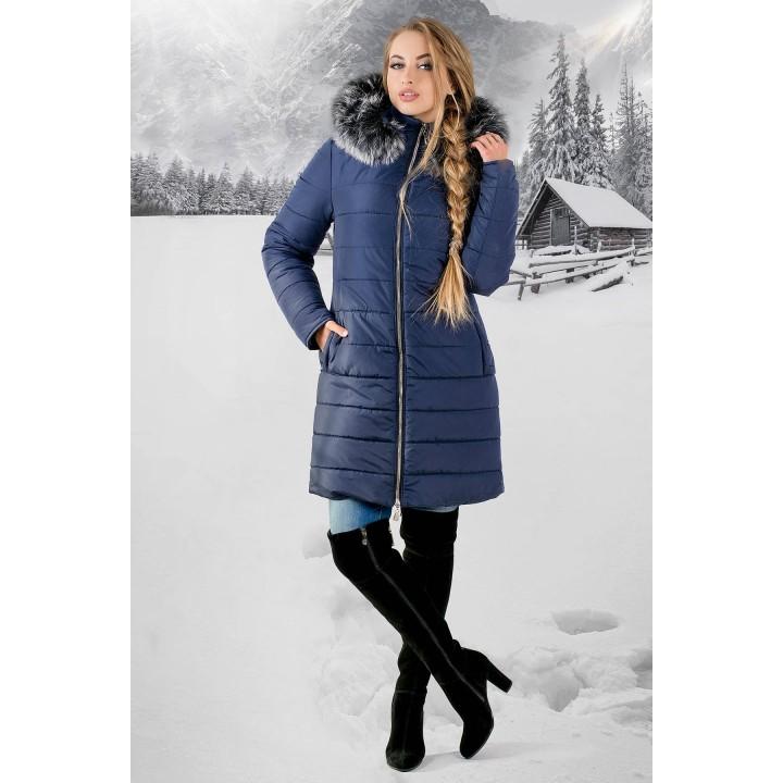 Зимняя куртка Флорида (синяя серый мех)