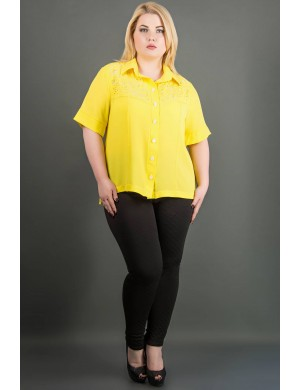 Женская рубашка большого размера Ника (желтый)