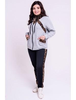 Женский спортивный костюм большого размера Альфа (серый)
