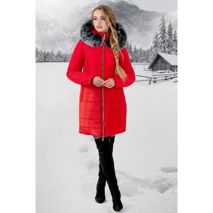 Зимняя куртка Флорида (красная серый мех) Оптовая цена