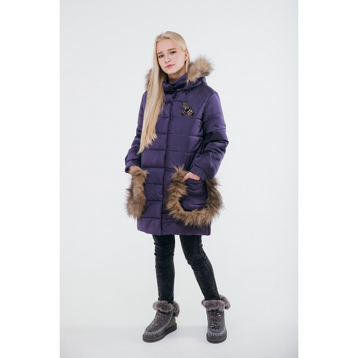 Детская зимняя куртка Ангелия (фиолетовый) Оптовая цена