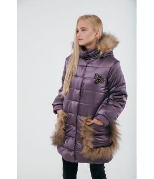 Зимняя детская куртка Ангелия (сиреневый)