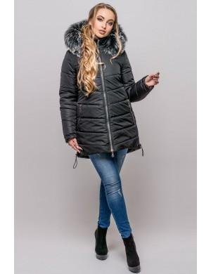 Зимняя молодежная куртка Бриана (черный серый мех)