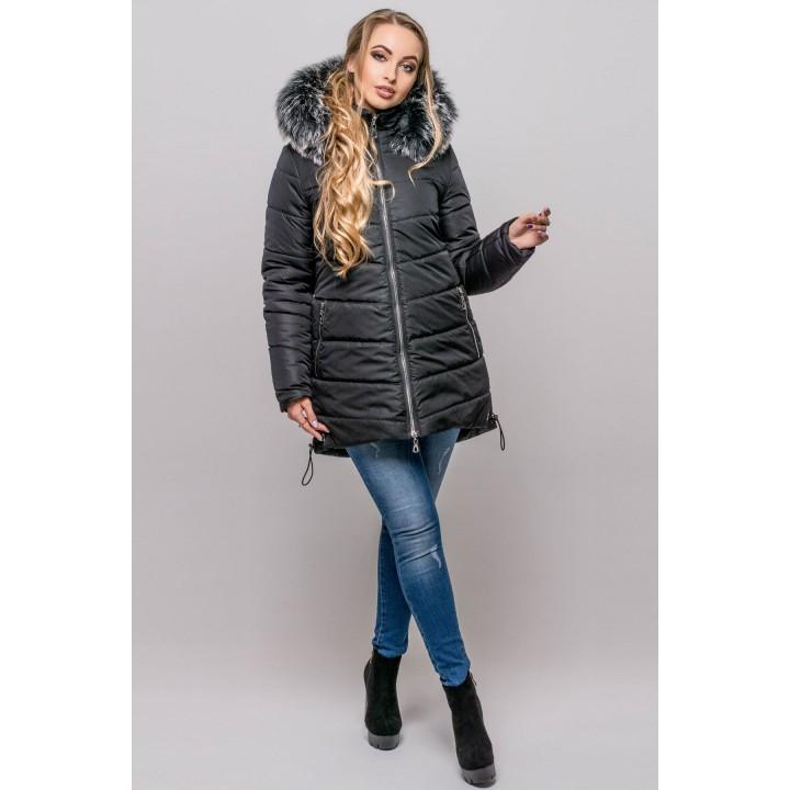 Зимняя куртка Бриана (черный серый мех)