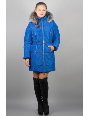 Женская зимняя молодежная куртка Дорри (электрик серый мех)